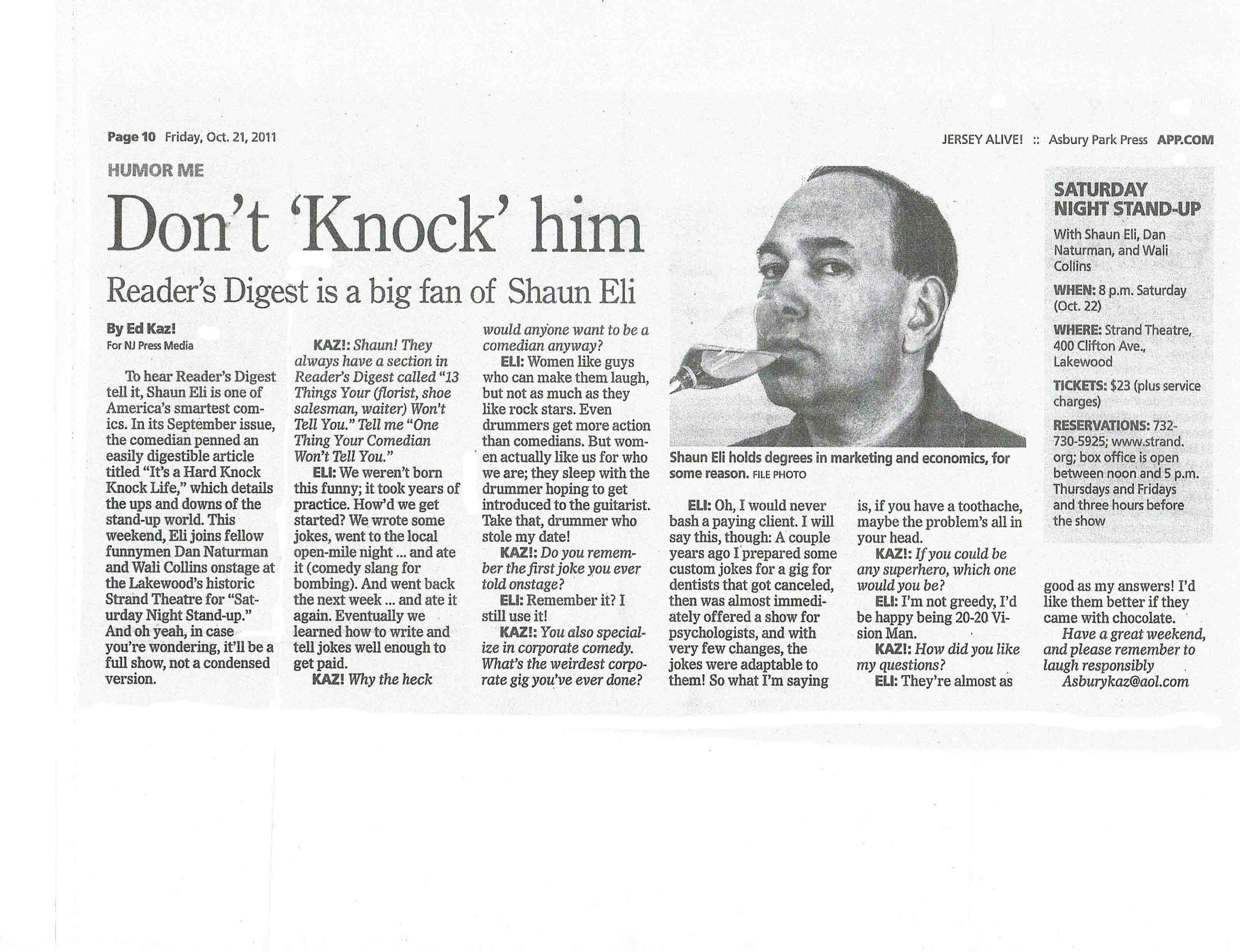 "Shaun Eli in the Asbury Park Press ""Don't 'Knock' Him"""