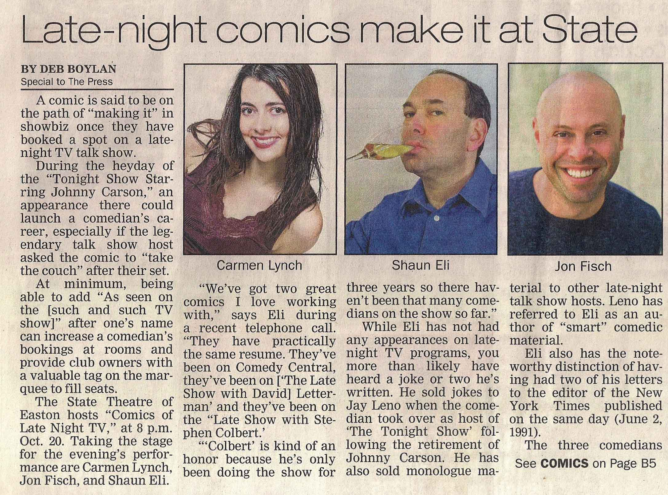 The Ivy League of Comedy in the Lehigh Valley Press, covering them at the State Theatre