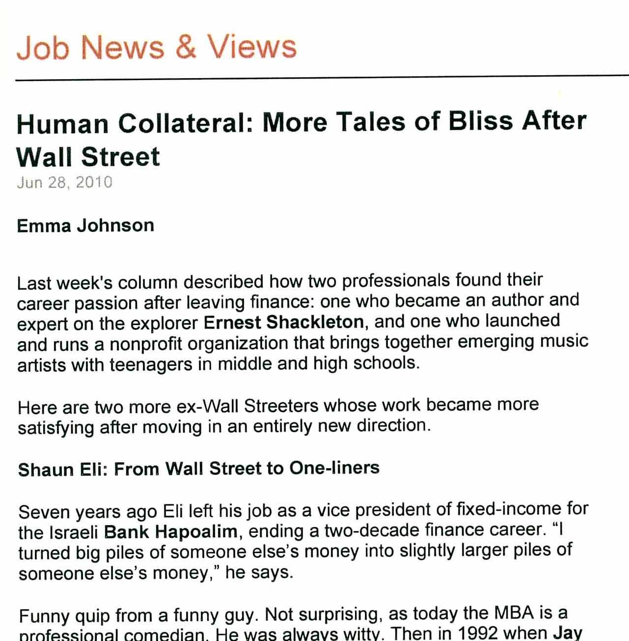 Nasdaq article on Shaun Eli leaving Wall Street for the stage