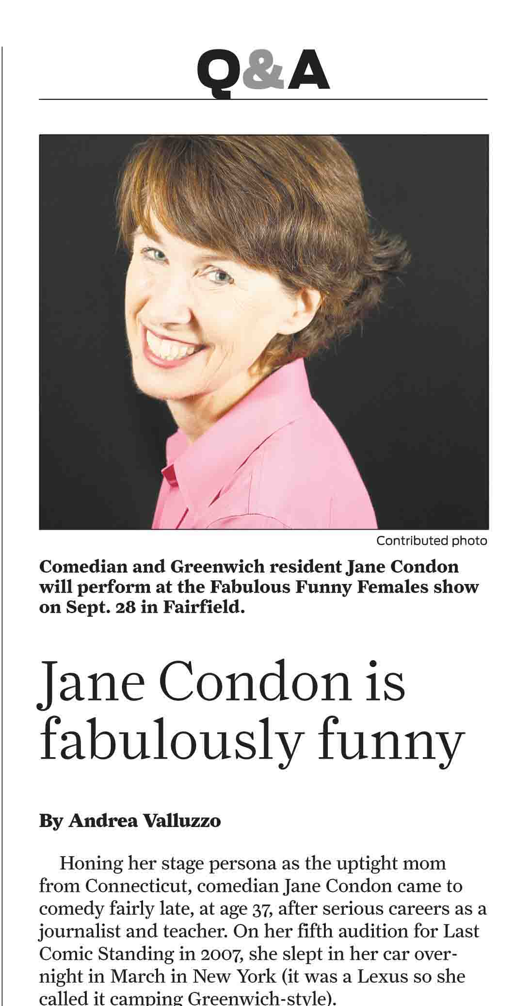 """Jane Condon in the Ridgefield Press as part of The Ivy League of Comedy's Fabulously Funny Female series"""""""