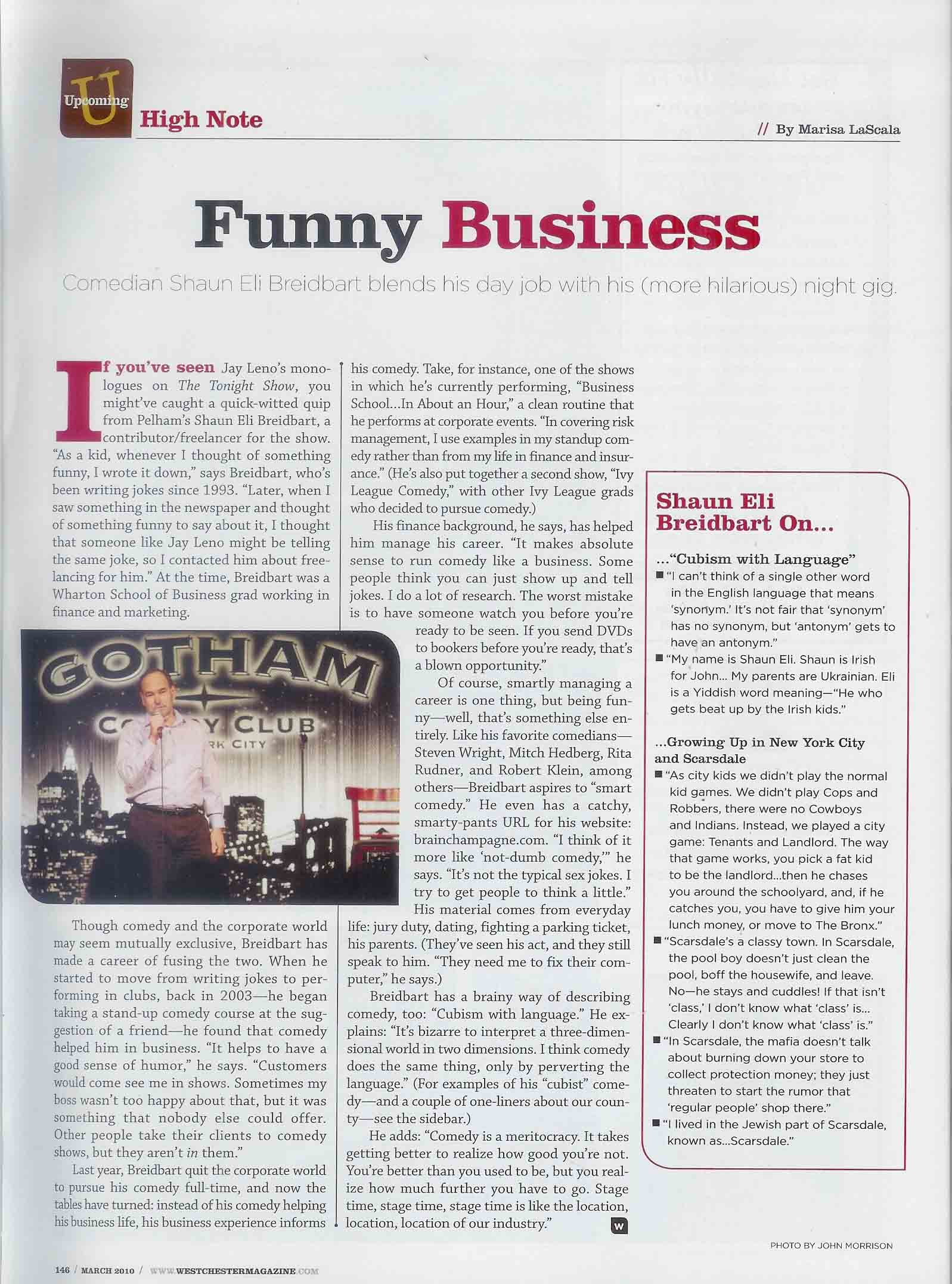 """Westchester Magazine article on comedian Shaun Eli """"Funny Business"""""""