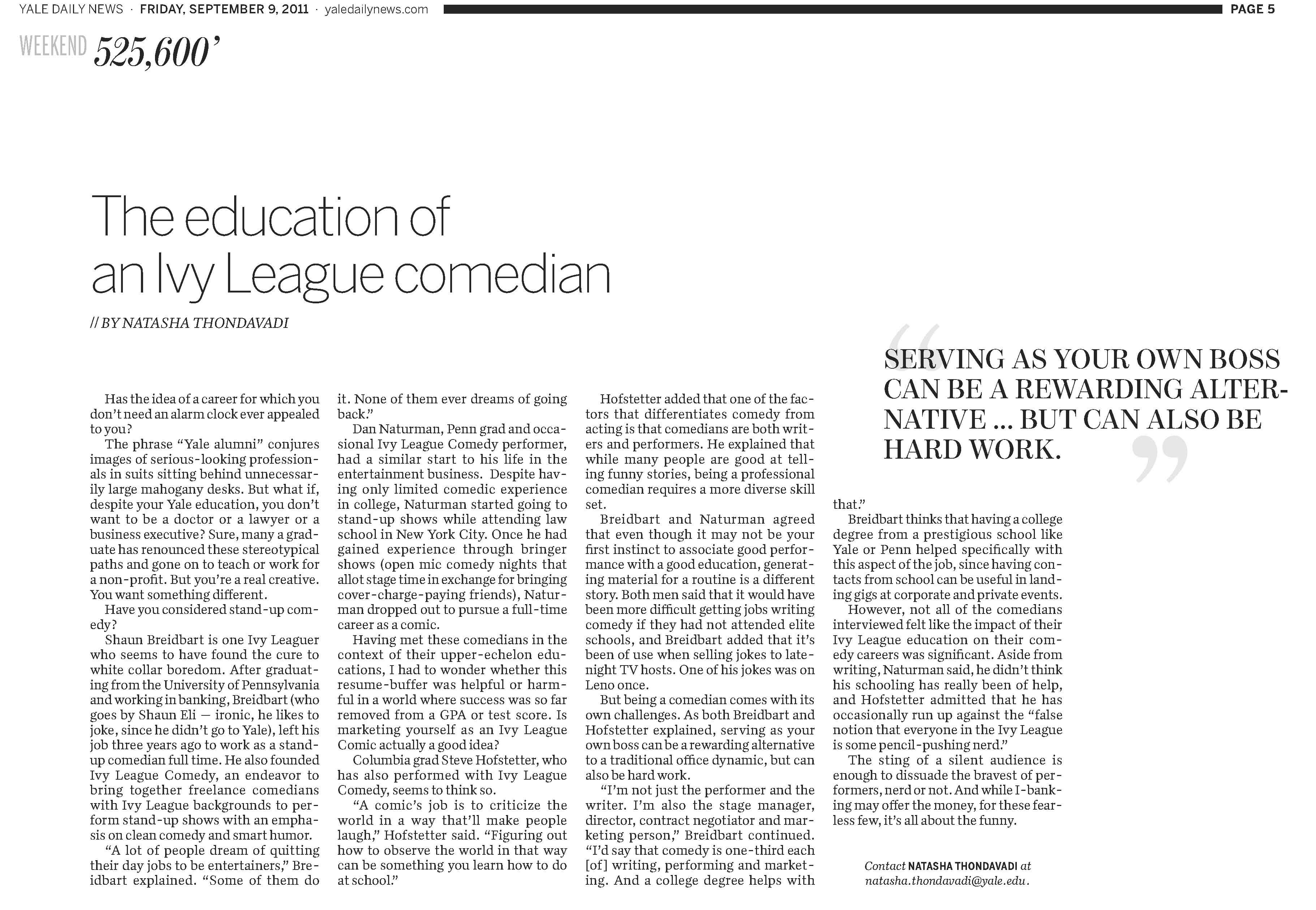Yale Daily News article on Shaun Eli